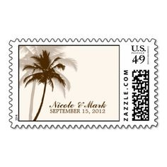 Palm Trees Summer Wedding Postage