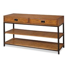 A traditional twist on your modern entertainment collection. This media console is understated and elegant, with metal accents and a beautiful oak finish. QVC.com