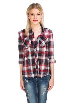 Knit Plaid Boyfriend Shirt