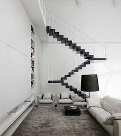 Living Room : staircase installation Loft in Monza, Italy by Lissoni Associati Interior Stairs, Interior Architecture, Interior And Exterior, Wc Public, Escalier Design, Prefab Homes, Deco Design, Interiores Design, Stairways