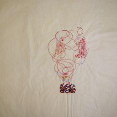 """Wura-Natasha Ogunji 2014 """"Cheetahs White Orchids"""" Thread, ink, graphite on paper 23 x 24 inches"""