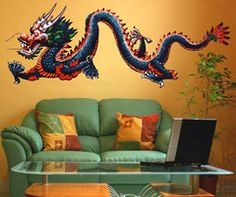 Graphic Vinyl Wall Decal Sticker Chinese Dragon #MMartin147 | Stickerbrand wall art decals, wall graphics and wall murals.