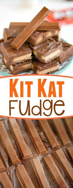 This super easy KIT KAT FUDGE takes less than 5 minutes to make! Decadent, creamy, and full of satisfying Kit Kat crunch!This super easy KIT KAT FUDGE takes less than 5 minutes to make! Decadent, creamy, and full of satisfying Kit Kat crunch! Fudge Recipes, Candy Recipes, Sweet Recipes, Dessert Recipes, Kit Kat Recipes, Yummy Treats, Delicious Desserts, Sweet Treats, Yummy Food