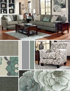 Blue and gray/silver style for the living room - yes--also like how they painted the back wall of the shelving unit
