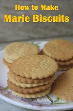 Marie biscuits can be made easily at home. This biscuits taste so good just like the real ones. This biscuits can be stored in a air tight container for 3 to 4 days. Eggless Cookie Recipes, Homemade Oreo Cookies, Eggless Baking, Snack Recipes, Snacks, Sweet Recipes, Bourbon Biscuit Recipes, Puff Pastry Recipes, Marie Biscuits