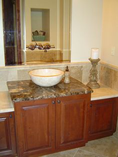Powder Room With Vessel Sink Bowl, Marble Countertops, Travertine Flooring,  Travertine Wainscoting And