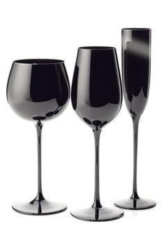 Riedel's 40th anniversary Black Sommelier glassware series. These are perfect for our red, black and white theme!