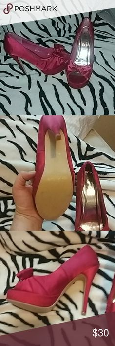 Sexy pink high heels Barely any wear nothing noticeable. Very sexy perfect for a night out on the town. Deb Shoes Heels