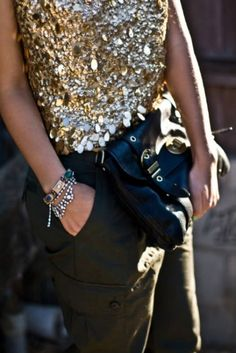 Shimmery shirt with cargo pants. Cute!