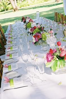 "Hot pink and apple green - it shouts ""spring wedding"" to me. I'm so aiming for this look! Pink Green Wedding, Pink And Green, Wedding Colors, Wedding Flowers, Yellow, Wedding Pennant, Storybook Wedding, Green Theme, Green Accents"
