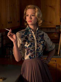 Mad Men. Betty, January jones, butterfly blouse, waisted pleat skirt, cigarette
