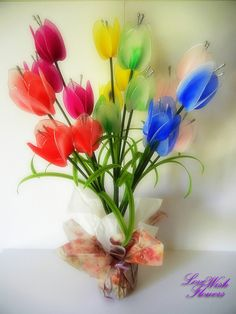 Beautifully artifical multicolor tulip. by lovewishflowers on Etsy