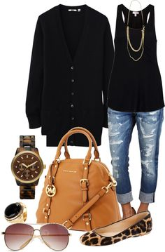 I have capris, a black tank, black flats, a long necklace, and black cardigan. Another idea for my closet. Mode Chic, Mode Style, Style Me, Fashion Mode, Look Fashion, Womens Fashion, Fall Fashion, 50 Fashion, Fashion Black