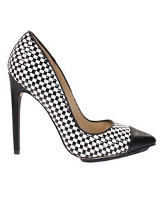 Look at this Black & White Woven Tabu Pump on #zulily today!