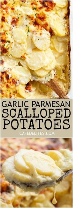 Garlic Parmesan Scalloped Potatoes layered in a creamy garlic sauce with parmesan and mozzarella is the best side dish to any meal! | https://cafedelites.com