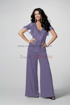 women's dressy pant suits for weddings | ... mother of the wedding party pants suits with Short Sleeves nmo-049