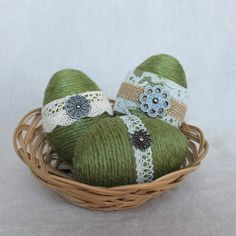 Twine Wrapped Eggs by TheRusticTrunk. We love these eggs for spring decor, as a centerpiece or alone. Use them in an Easter basket or even for your next Easter egg hunt. Great rustic shabby chic farmhouse style!!