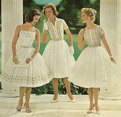 mademoiselle 1961 white sundress summer short sleeves spaghetti straps full skirt shirtwaist shirt button models magazine early 60s classic party garden