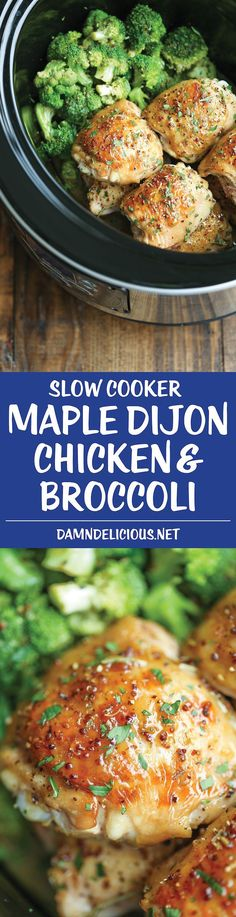 Slow Cooker Maple Dijon Chicken and Broccoli - Sweet, tangy and packed with so much flavor, made right in your crockpot! It just doesn't get any easier! (recipes with chicken crockpot) Slow Cooker Recipes, Paleo Recipes, Dinner Recipes, Cooking Recipes, Paleo Dinner, Crockpot Meals, Cooking Ideas, Food Ideas, Maple Dijon Chicken