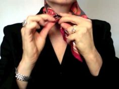 How-to wear small square scarves - Hermes Gavroche in a simple loop knot - YouTube