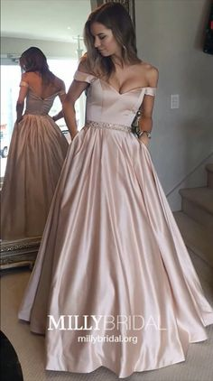 : Long Prom Dresses Ball Gown, Pink Formal Dresses with Pockets, Champagne Graduation Dresses Off the shoulder, Satin Wedding Party Dresses with Beading MillyBridal promballgown pinkdress dresseswithpockets champagnedress Prom Dresses with pockets Prom Dresses Long Pink, Grad Dresses Short, Prom Dresses With Pockets, Prom Dresses For Teens, Best Prom Dresses, Wedding Party Dresses, Graduation Dresses, Long Dress Formal, Lace Evening Dresses