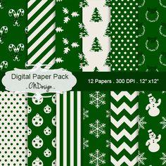 Christmas digital paper pack green christmas by CnDigitalDesign