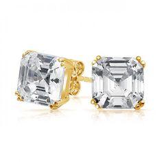 Bling Jewelry CZ Gold Vermeil Asscher Cut Stud Earrings 925 Sterling Silver 7mm