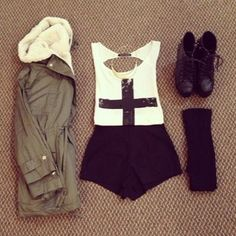 Army jacket , cross top , black high waisted shorts , combat boots , knee high socks .  #hipster