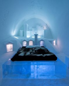 Discover the world's first and largest hotel built of snow and ice... || Image courtesy of the Ice Hotel, Photo by Christopher Hauser
