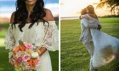Romantic BoHo Chic Maui Wedding Bride dressed in off-white lace off the shoulder wedding dress and holding colorful vintage bouquet. Groom swings bride. Photo by Pake Salmon. Wedding Planner Hawaii Weddings by Tori Rogers