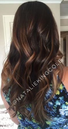 Chocolate brown Fall 2015 hair trends balayage ombre somber L'ANZA healing haircolor hair care long brunette carmel highlights toffee hue warm gold rich dimensional Unite Blow and Set lotion loose waves soft waves