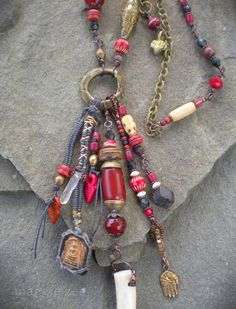 Her Wise Blood Goddess Crone Shaman Amulet Necklace by maggiezees
