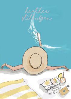 Items similar to Pool Wall Art - Beach House Art Digital Art Print - Pool - tropical - Print on Etsy - illustrations Bonjour Week-end, Plage Art Mural, Rose Hill Designs, Hello Weekend, Beach Wall Art, Illustrations, Cute Illustration, Home Art, Summer Fun