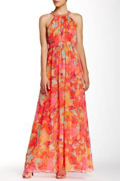 Embellished Halter Neck Print Gown // Sponsored by Nordstrom Rack