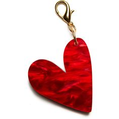Edie Parker Heart Bag Charm (7.165 RUB) ❤ liked on Polyvore featuring accessories, accessories key chains, red pattern, heart key chain, heart shaped key chains, engraved key chains and edie parker