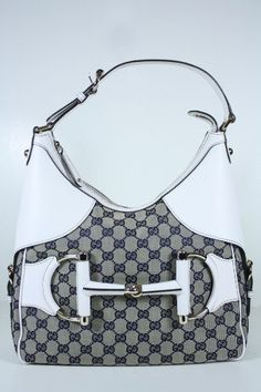 Gucci Handbags Blue Fabric and White Leather 247604
