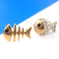 Small Fish Bone and Gold Fish Sea Animal Stud Earrings in Gold $6.50 #fishes #fish #stud #earrings #bone #skeleton #cute #guppies #rhinestone #jewelry