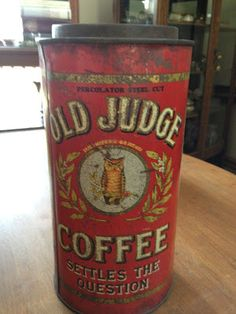 Old Judge Coffee Tin by David G. Evans Coffee Co.