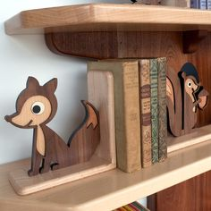 Wooden Fox Bookend: Heirloom Kids Baby by graphicspaceswood