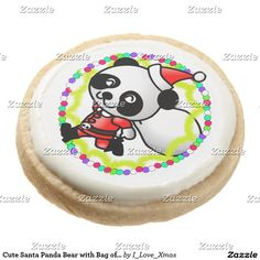 Cute Santa Panda Bear with Bag of Toys Round Shortbread Cookie #Gravityx9 #i_love_xmas