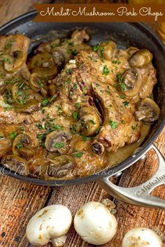 Merlot Mushroom Pork Chops | bakeatmidnite.com | #porkchops #merlot #easydinners