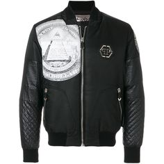 Philipp Plein Sunday bomber jacket ($1,730) ❤ liked on Polyvore featuring men's fashion, men's clothing, men's outerwear, men's jackets, black, men's stand collar jacket, mens leopard print jacket, mens quilted jacket and mens quilted bomber jacket
