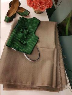 light brown organza sequins saree Source by muralilavanya saree Lehenga Designs, Saree Designs Party Wear, Fancy Sarees Party Wear, Churidar Designs, Saris, Cotton Saree Blouse Designs, Blouse Patterns, Wedding Saree Blouse Designs, Art Patterns