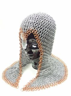 One of my production chainmail coifs. #chainmail #chainmaille #renaissance #medieval