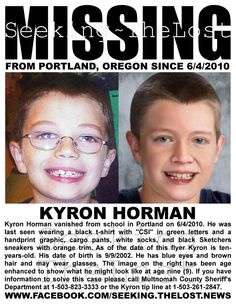 1/1/2013: 1/1/2013: Please share to locate Kyron Horman missing from Portland, Oregon since 6/4/2010... pinned with Pinvolve