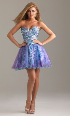 Short Strapless Prom Dress with Animal Print by Night Moves 6496