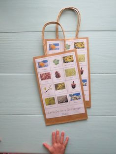 Party Pack- Montessori Nature Scavenger Hunt Bags in Natural Color (5) on Etsy, $18.50