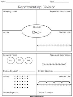 FREE printable where students practice representing division through grouping models, arrays, number lines, and repeated subtraction! Fractions Worksheets, Math Multiplication, Array Worksheets, Printable Worksheets, Free Printables, Maths 3e, Primary Maths, Math Division, Division Worksheet