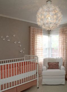 Nursery. I like orange and grey but I think maybe a more coral or peachy orange is pretty with grey and ivory.