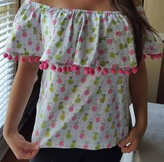 Off Shoulder Shirt in Pineapple Print; Off the Shoulder Blouse in Pineapple fabric with pink pom poms